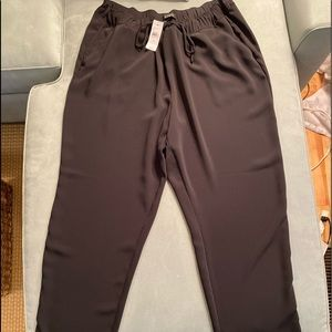 Black, draw string, wide leg, light weight pants